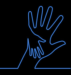 Caring hand charity blue glowing neon logo concept vector