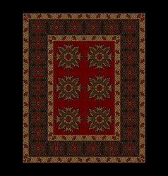 Carpet red mid and flowers on yellow border vector