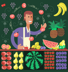 Cartoon character fruit seller vector