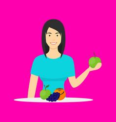 cartoon character person eating raw fruits vector image