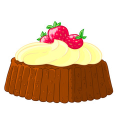 Cartoon icon of a cupcake with lemon meringue and vector