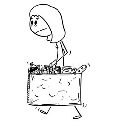cartoon unhappy and tired woman carrying big vector image