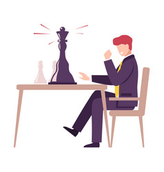 Chess player celebrating his win in chess vector