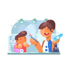 Child brushing teeth with mother vector