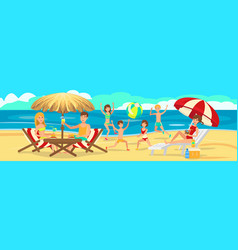 Children playing on beach active rest of family vector