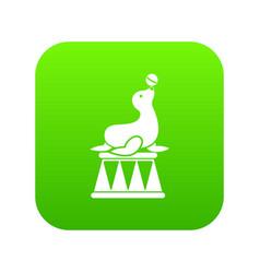 circus seal with a ball icon digital green vector image