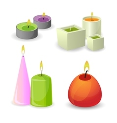 Collection different aroma candles for relax vector