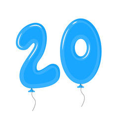 Color balloons with numbers twenty decoration vector