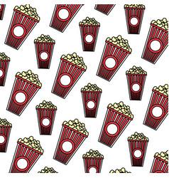 Color delicious snack popcorn food background vector