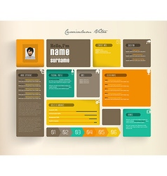 Creative resume template with tiles vector