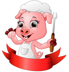 cute cartoon chef pig holding a fork vector image