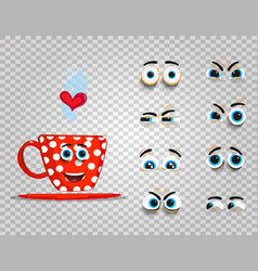 Cute emoji set of red cup with changeable eyes vector