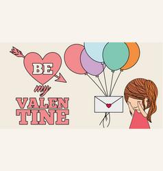 Cute little girl receiving message balloons be my vector