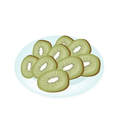 Delicious Fresh Kiwi in A White Plate vector image