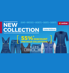 denim clothing web banner vector image
