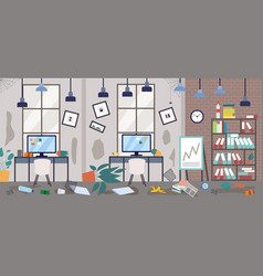 Dirty office with scattered things in disorder vector