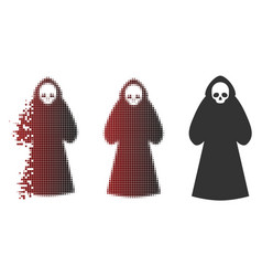 Disappearing pixel halftone death hood man icon vector
