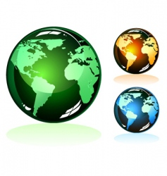 Earth glossy icons vector