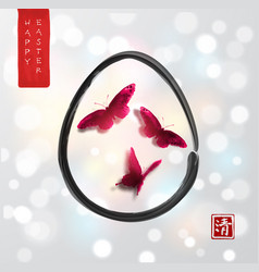 Easter card in japanese style red butterflies in vector