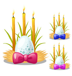 easter egg with bow and burning candles vector image