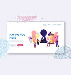 Escape room landing page template tiny characters vector
