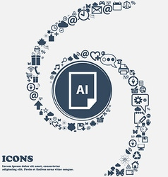 File AI icon in the center Around the many vector