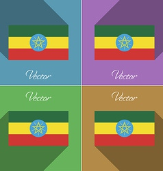 Flags Ethiopia Set of colors flat design and long vector image
