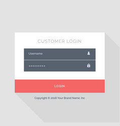 flat white login form ui template design vector image
