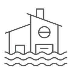 flood thin line icon disaster and home flooded vector image
