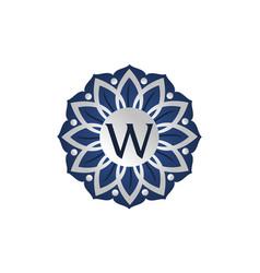 flower elegant icon initial w vector image