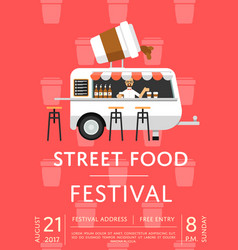 Food truck festival invitation in flat style vector