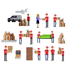 funny pizza delivery boy funny delivery character vector image