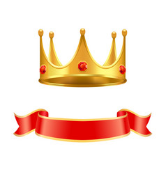 golden crown with ruby gem and silk curl ribbon vector image