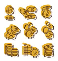 Golden money coins in piles us dollar currency vector