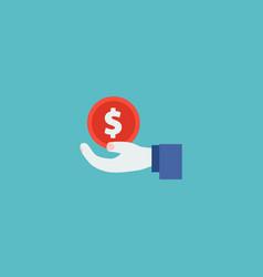 hand money icon flat element vector image