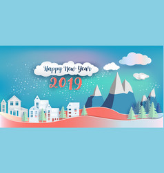 happy new year 2019 and merry christmas paper art vector image