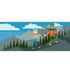 Hikers walking in outdoor vector image