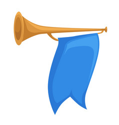 Horn or trumpet with flag royal kingdom attribute vector