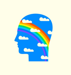 human head in profile with a rainbow and clouds vector image