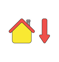 Icon concept house with arrow down vector