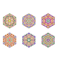 Isolated abstract geometrical floral hexagon vector