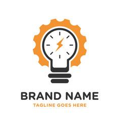 logo design for clock repairs and electric lamps vector image