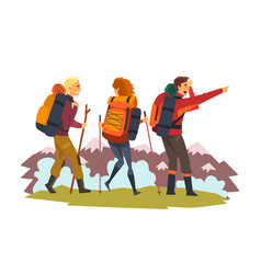 men and woman travelling together tourists hiking vector image