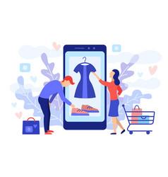 mobile shopping consept vector image