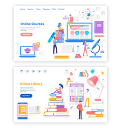 online course and library with free access set vector image