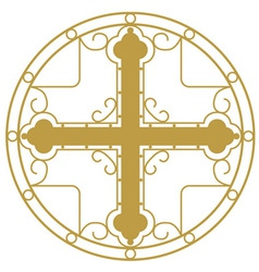 Ornamented golden christian holy cross vector