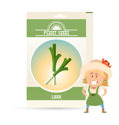 Pack of leek seeds icon vector