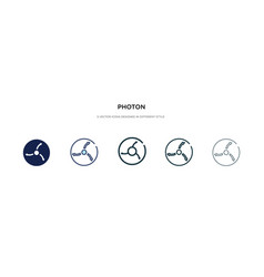 Photon icon in different style two colored vector