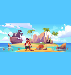 pirate on island with treasure filibuster captain vector image