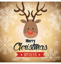 postcard reindeer merry christmas snowflake and vector image